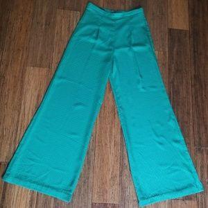 Zara Basic silk auqa green colored pants